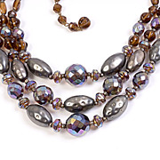 Vintage Three Strand Multi-colored Art Glass and Crystal Bead Necklace, West Germany