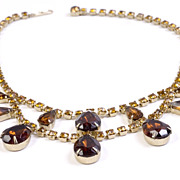 Vintage Dangle Necklace with Amber and Topaz Colored Rhinestones, Unsigned