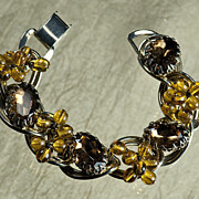 Vintage Double Link Topaz Dangles and Rhinestone Bracelet, possibly Schauer