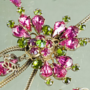 Vintage Rose/Magenta and Peridot Colored Rhinestone Dangle Necklace and Earrings