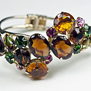Vintage Glass and Rhinestone Fruit Salad Chunky Clamper Bracelet