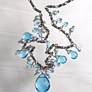 Vintage Aqua Glass Crystal and Faux Pearl Necklace, Signed VJ
