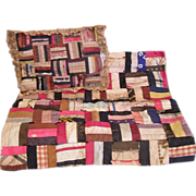 Antique log cabin doll quilt and pillow