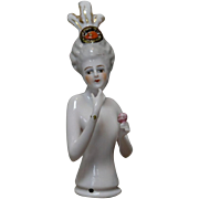 REDUCED German Porcelain Half-doll Elaborate Decoration
