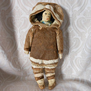 Wonderful Native American Inuit Doll Cloth Doll Dressed in Fur Costume