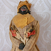 All Original Folk Art Cloth Nut Head Doll with Babies