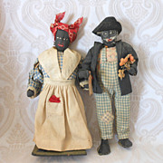 Vintage Black Cloth Doll Couple