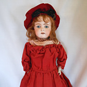 Kestner German Bisque Head Doll in Wonderful Antique Red Costume