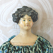 German Papier Mache Milliners Model in Print Dress
