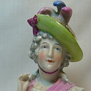 Large German Glazed Porcelain (China) Arm Away Half Doll with Plumed Hat