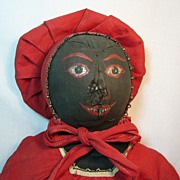 SALE Antique Cloth Black Doll with Great Expression