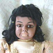 Clarmaid Black Bisque Character Doll by Artist Clara Wade