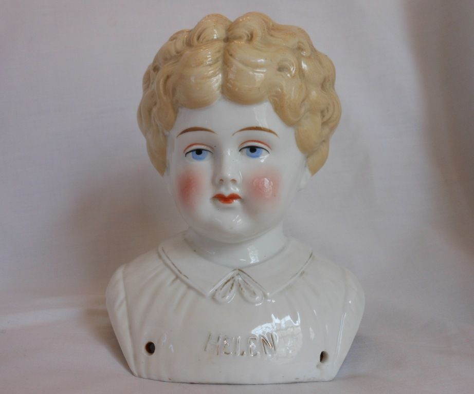 """Helen"" Pet Name German Glazed Porcelain China Shoulder Head by Hertwig"