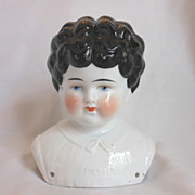 SALE PENDING �Bertha� Pet Name German Glazed Porcelain China Shoulder Head by Hertwig