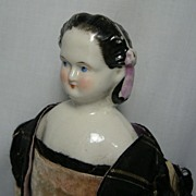 Early German Porcelain (China) Shoulder Head Doll with Molded Snood and Ribbon Hair Adornment