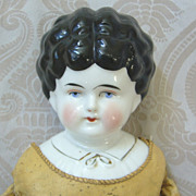SALE PENDING Hertwig German Glazed Porcelain China Head Doll with Blouse Detail