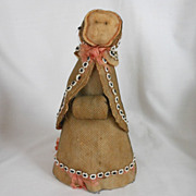 All Original Folk Art Antique Cotton Batting Doll