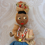 Brown Felt Vintage Miniature Doll