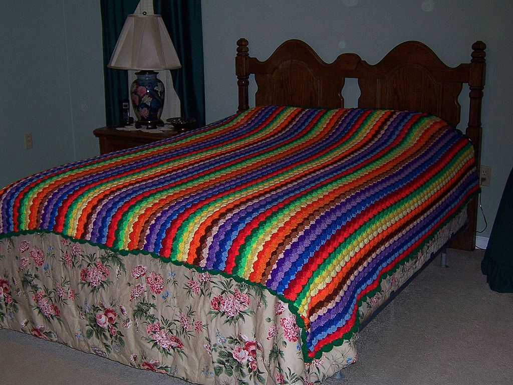 Crochet Queen Size Blanket : Multi-Colored Queen Size Handmade Crochet Afghan from johnsantiques on ...