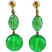 Vintage Green Lucite Dangle Earrings w/ Lime Green Glitter Beads DISCO ERA