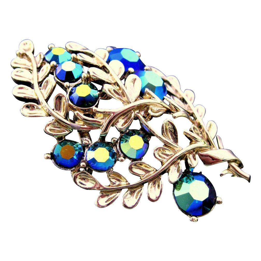 Vintage CORO Blue Aurora Borealis Rhinestone Brooch GREAT CONDITION