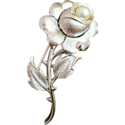 Vintage Trifari Rose Flower Brooch w/ Faux Pearl