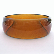 Vintage Tortoise Lucite Bracelet w/ Light Marbling Genuine 1960's Bangle