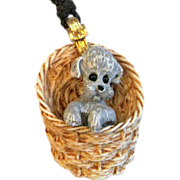 Vintage 1970s RAZZA Poodle Puppy in a Basket Pendant Necklace & Extra Gold-tone Chain