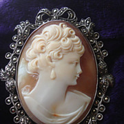 SOLD SUPER Vintage c1930's Hand Carved Shell cameo Brooch Pin silver marcasites