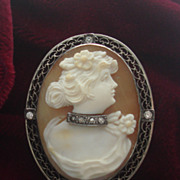 SOLD Vintage Hand carved Shell Cameo Habille Moissanites sterling silver brooch pin