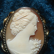 SOLD Delightful Hand Carved Shell cameo brooch pendant pin initialed