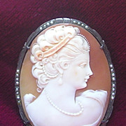 SOLD SUPERB c1915 Hand Carved Shell cameo brooch Pin Pendant silver seed pearls