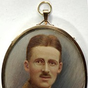 SOLD Hand Painted Portrait Miniature World War I Soldier c1918