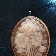 SALE Vintage Hand carved Sardonyx shell Floral Flower bouquet Cameo Brooch Pin Pendant Silver