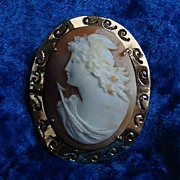 REDUCED 14K Goddess of Hope Shell Cameo brooch Pin