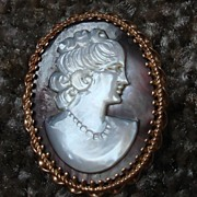 REDUCED LOVELY 14K Vintage Mother of Pearl Abalone Cameo Brooch Pin Pendant