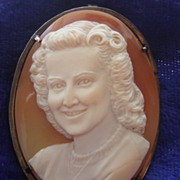 SALE Vintage c1940's One of a Kind hand carved Portrait Religious cross cameo brooch pin penda