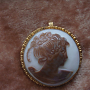 SOLD Unique Vintage Hand carved Cowrie Shell cameo Brooch Pin Pendant