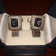Awesome Vintage Hematite Men's Cameo Warrior cufflinks