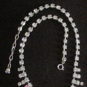 SALE FAB 1980's Pink Rhinestone Necklace
