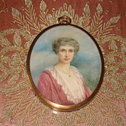 SOLD SUPERB Vintage Hand Painted Watercolor Portrait Miniature by Julia Bucknill of the Late M