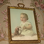 Vintage Tinted Photo boy named Stuart stuffed dog framed Picture Photo