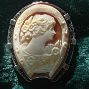 SOLD One of a kind Vintage Hand carved Carnelian Shell GOOD LUCK Horse-shoe Cameo Brooch Pin S