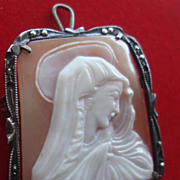 SOLD SPECIAL Vintage Hand carved Shell Cameo Madonna Blessed Mother Virgin Mary religious Pend