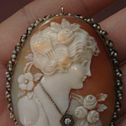 SOLD GORGEOUS Vintage Hand Carved Shell Diamond Habille Cameo Brooch Pin Pendant seed pearls