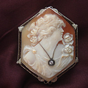 SOLD SPECIAL 14K Vintage Hand carved Habille Diamond Cameo ...Stop and smell the Roses! Pin pe