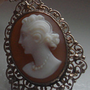 SWEET Hand Carved Sardonyx shell Cameo Necklace Pendant Silver Doll child