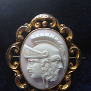 SOLD RARE 9K c1860 Victorian hand carved Pink Shell Cameo Brooch Pin LOCKET  of Mythological G