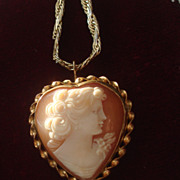 SOLD Vintage Hand Carved shell Heart shaped cameo Pendant necklace brooch pin