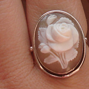 SOLD Lovely Vintage Hand carved shell Cameo Rose silver ring size 6 1/2